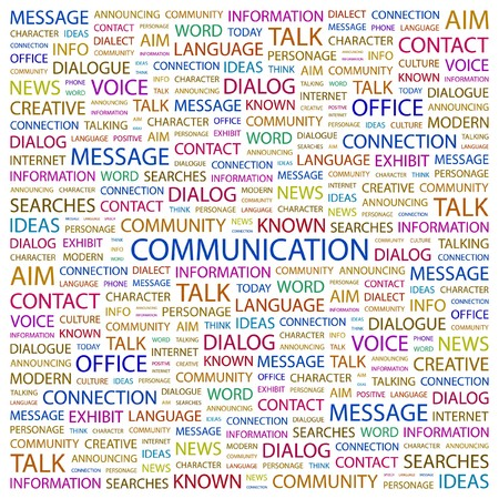 display type: COMMUNICATION. Word collage on white background. Vector illustration.