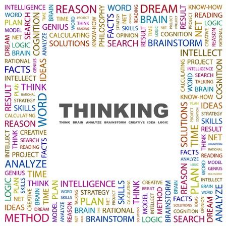 rational: THINKING. Word collage on white background. Vector illustration.    Illustration