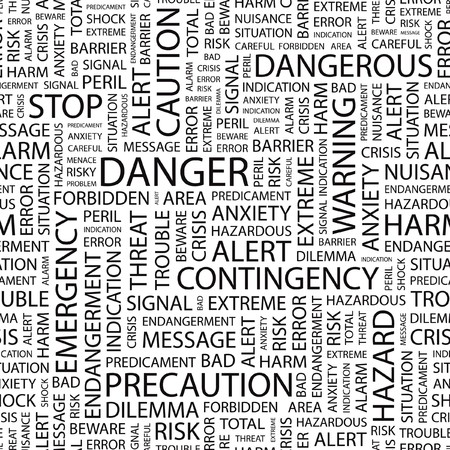 predicament: DANGER. Seamless vector pattern with word cloud.