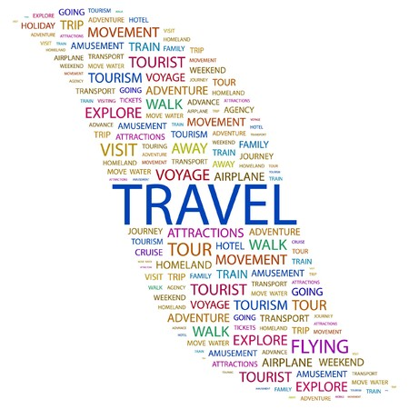 TRAVEL. Word collage on white background. Vector illustration.