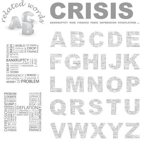 endangerment: CRISIS. Vector letter collection. Wordcloud illustration.