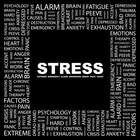 ストレス。黒の背景上のコラージュを単語します。ベクトル イラスト。  イラスト・ベクター素材