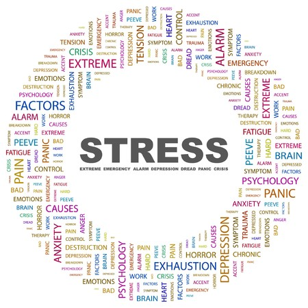 sintoma: STRESS. Word collage on white background. Vector illustration.