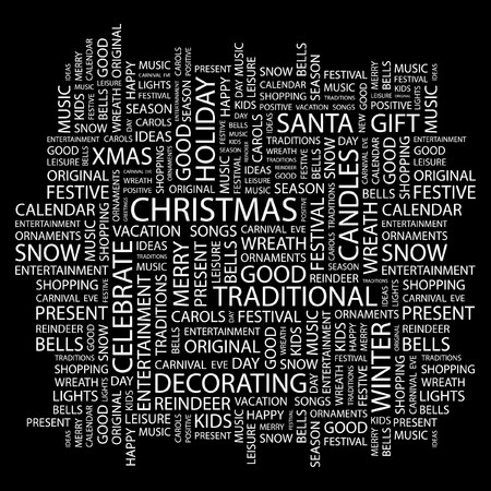 CHRISTMAS. Word collage on black background. Vector illustration.    Vector