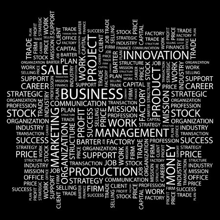 marketing mix: BUSINESS. Word collage on black background. Vector illustration.