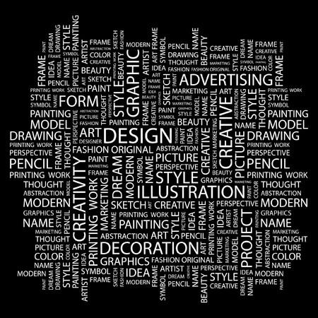 ONTWERP. Word collage op zwarte achtergrond. Vectorillustratie.