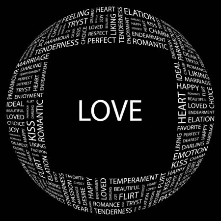 LOVE. Word collage on black background. Vector illustration.    Vector