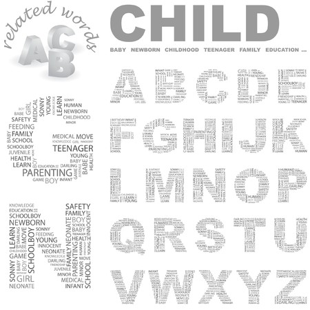 bambino: CHILD. Vector letter collection. Wordcloud illustration.   Illustration