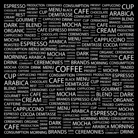 demitasse: CAFF�. Parola di collage su sfondo nero. Illustrazione vettoriale.