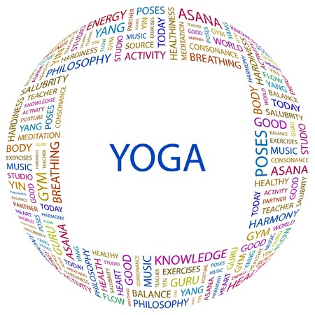 asanas: YOGA. Word collage on white background. Vector illustration.