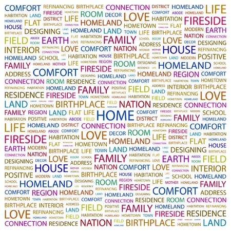 HOME. Word collage on white background. Vector illustration.    Vector