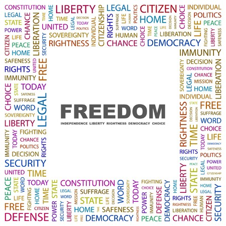 mix fighting: FREEDOM. Word collage on white background. Vector illustration.