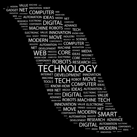 newest: TECHNOLOGY. Word collage on black background. Vector illustration.