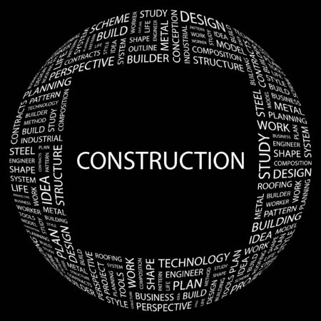 CONSTRUCTION. Word collage on black background. Vector illustration.    Vector