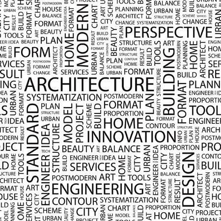 ARCHITECTURE. Seamless vector pattern with word cloud.   Vector