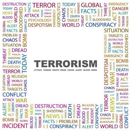 bloodshed: TERRORISMO. Palabra collage sobre fondo blanco. Ilustraci�n vectorial.  Vectores