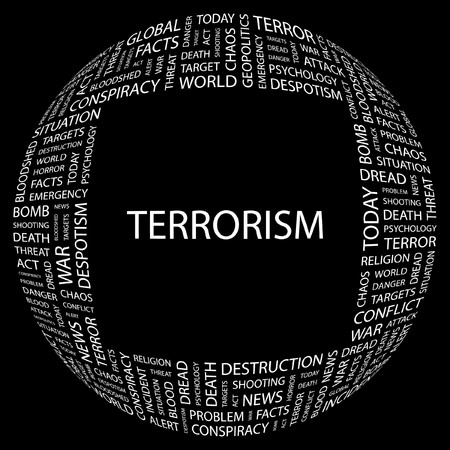 TERRORISM. Word collage on black background. Vector illustration.