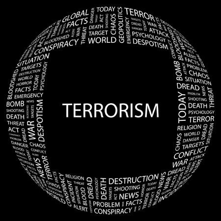 bloodshed: TERRORISMO. Palabra collage sobre fondo negro. Ilustraci�n vectorial.  Vectores