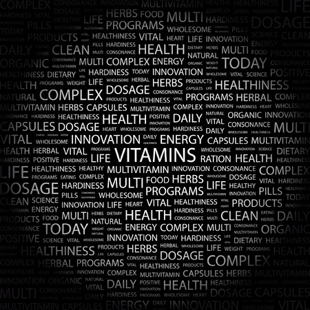 salubrity: VITAMINS. Word collage on black background. Vector illustration.    Illustration