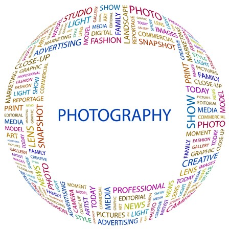 PHOTOGRAPHY. Word collage on white background. Vector illustration.    Vector