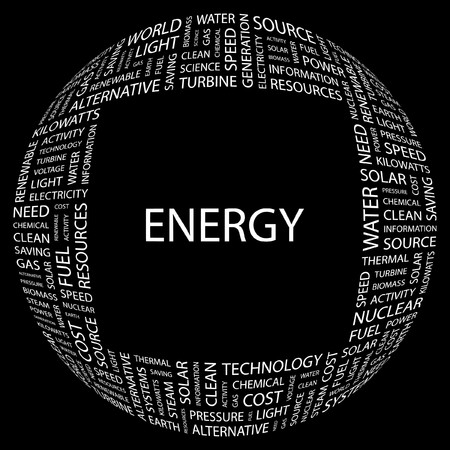 ENERGY. Word collage on black background. Vector illustration. Stock Vector - 7363574
