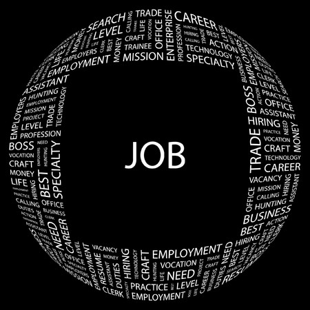 lifework: JOB. Word collage on black background. Vector illustration.    Illustration