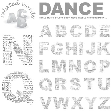 DANCE. Vector letter collection. Wordcloud illustration. Stock Vector - 7363617