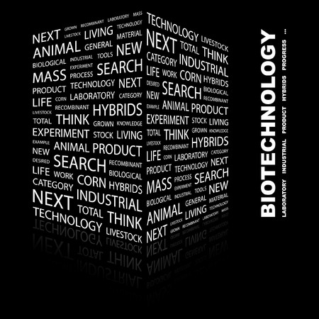BIOTECHNOLOGY. Word collage on black background. Vector illustration. Stock Vector - 7363593