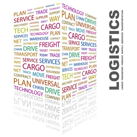 warehousing: LOGISTICS. Word collage on white background. Vector illustration.