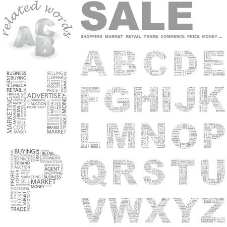 closeout: SALE. Vector letter collection. Wordcloud illustration.   Illustration