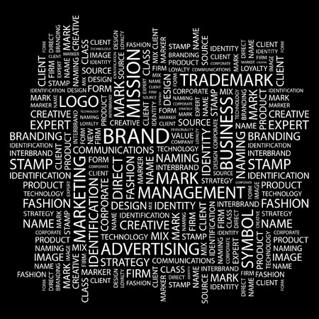 word collage: BRAND. Word collage on black background. Vector illustration.