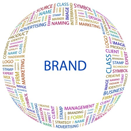 interbrand: BRAND. Word collage on white background. Vector illustration.