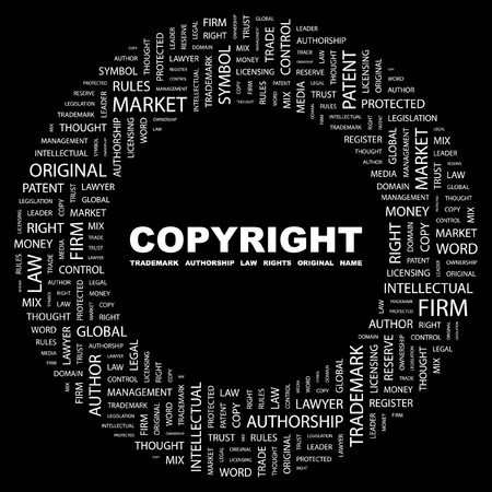 COPYRIGHT. Word collage on black background. Vector illustration.    Vector