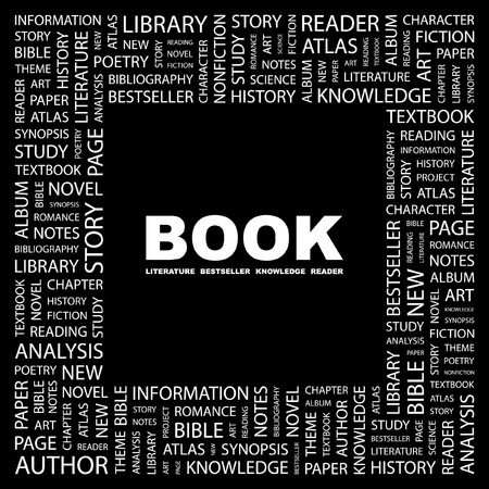 BOOK. Word collage on black background. Vector illustration.    Stock Vector - 7363534