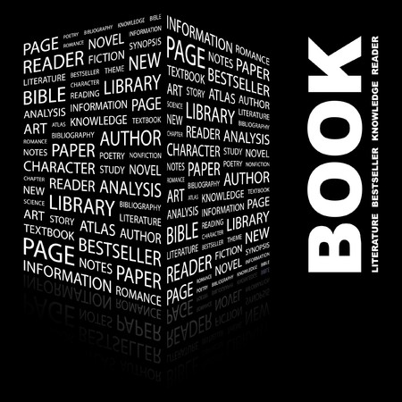 leerboek: BOEK. Word collage op zwarte achtergrond. Vector illustratie.