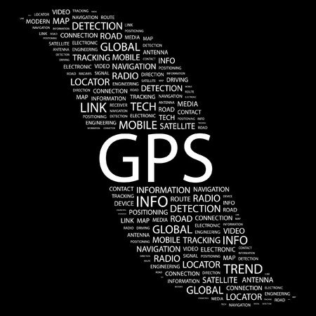 GPS. Word collage on black background. Vector illustration.    Stock Vector - 7363521