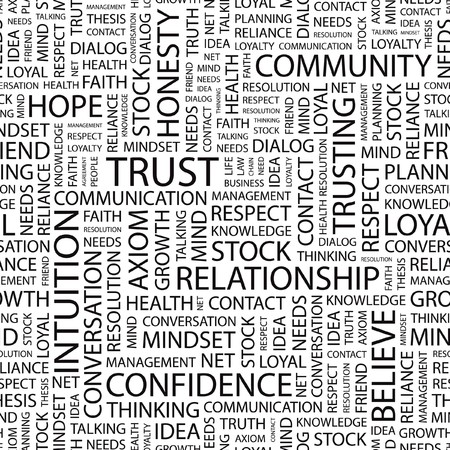 truthfulness: TRUST. Seamless vector background. Wordcloud illustration.