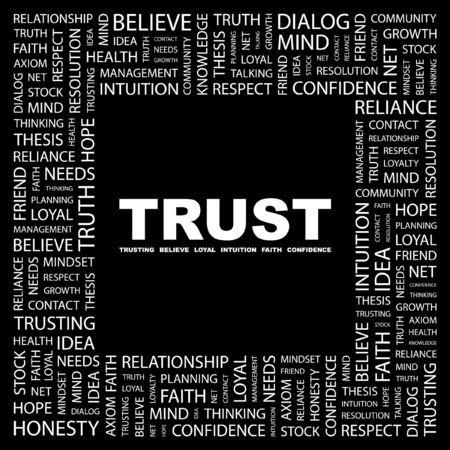 TRUST. Word collage on black background. Vector illustration.    Vector