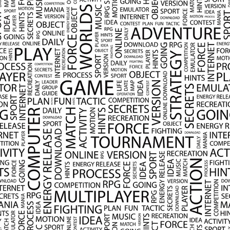 mix fighting: GAME. Seamless vector background. Wordcloud illustration.