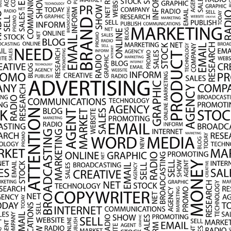 ADVERTISING. Seamless vector pattern with word cloud.   Illustration