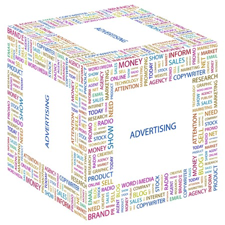 branded product: ADVERTISING. Word collage on white background. Vector illustration.