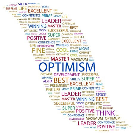 preeminent: OPTIMISM. Word collage on white background. Vector illustration.