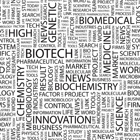 bioscience: BIOTECH. Seamless vector pattern with word cloud.