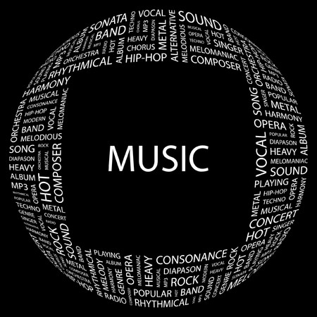 rhythmical: MUSIC. Word collage on black background. Vector illustration.    Illustration