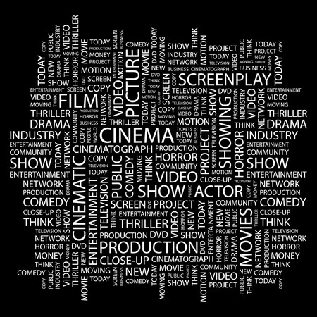 screenplay: CINEMA. Word collage on black background. Vector illustration.
