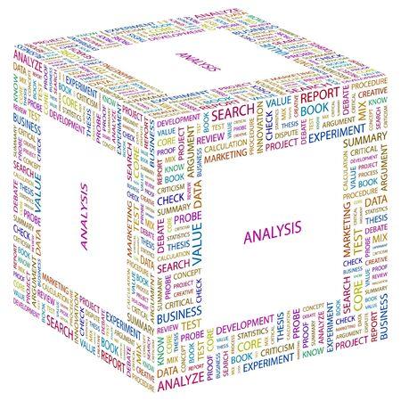 argumentation: ANALYSIS. Word collage on white background. Vector illustration.