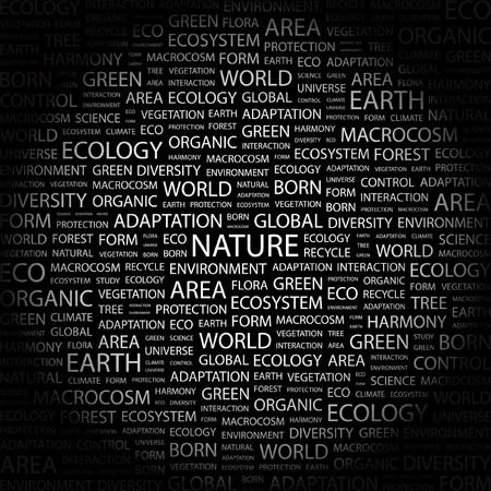 the humanities landscape: NATURE. Word collage on black background. Vector illustration.    Illustration