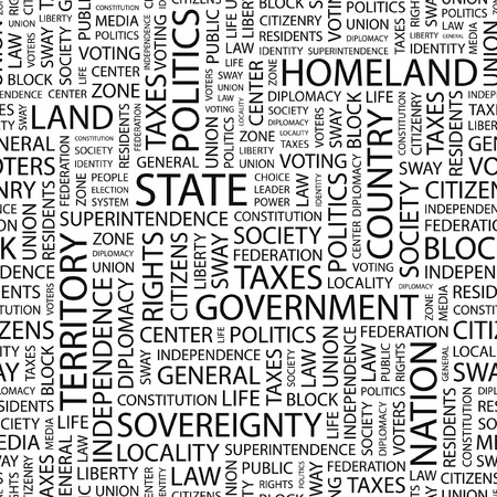 citizenry: STATE. Seamless vector background. Wordcloud illustration.