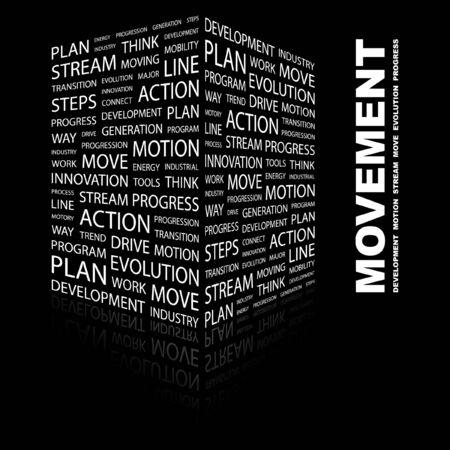 keywords background: MOVEMENT. Word collage on black background. Vector illustration.