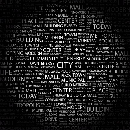 CITY. Word collage on black background. Vector illustration.    Vector